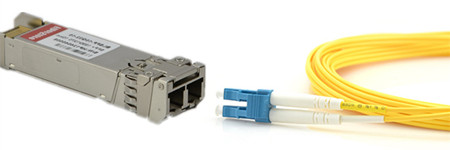 SFP+ transceiver and LC fiber optic cable