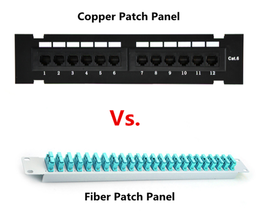 copper patch panel vs. fiber patch panel