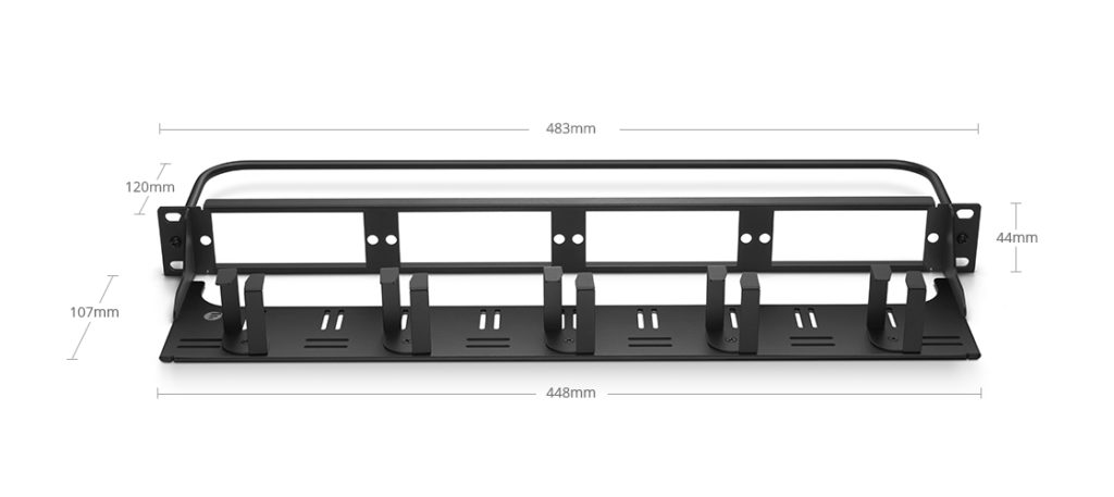 1U blank rack mount fiber patch panel with cable management panel and lacing bar