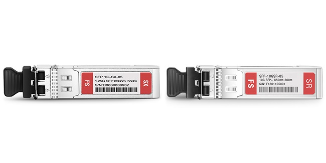 Cisco SFP-10G-SR (Right) and Cisco GLC-SX-MMD SFP (Left)