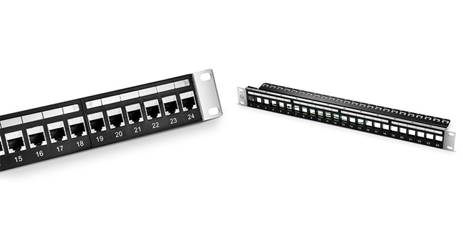 24 Ports Blank Keystone Ethernet Patch Panel (Left) and 24 Ports Cat6 Shielded Feed-Through Patch Panel (Right)