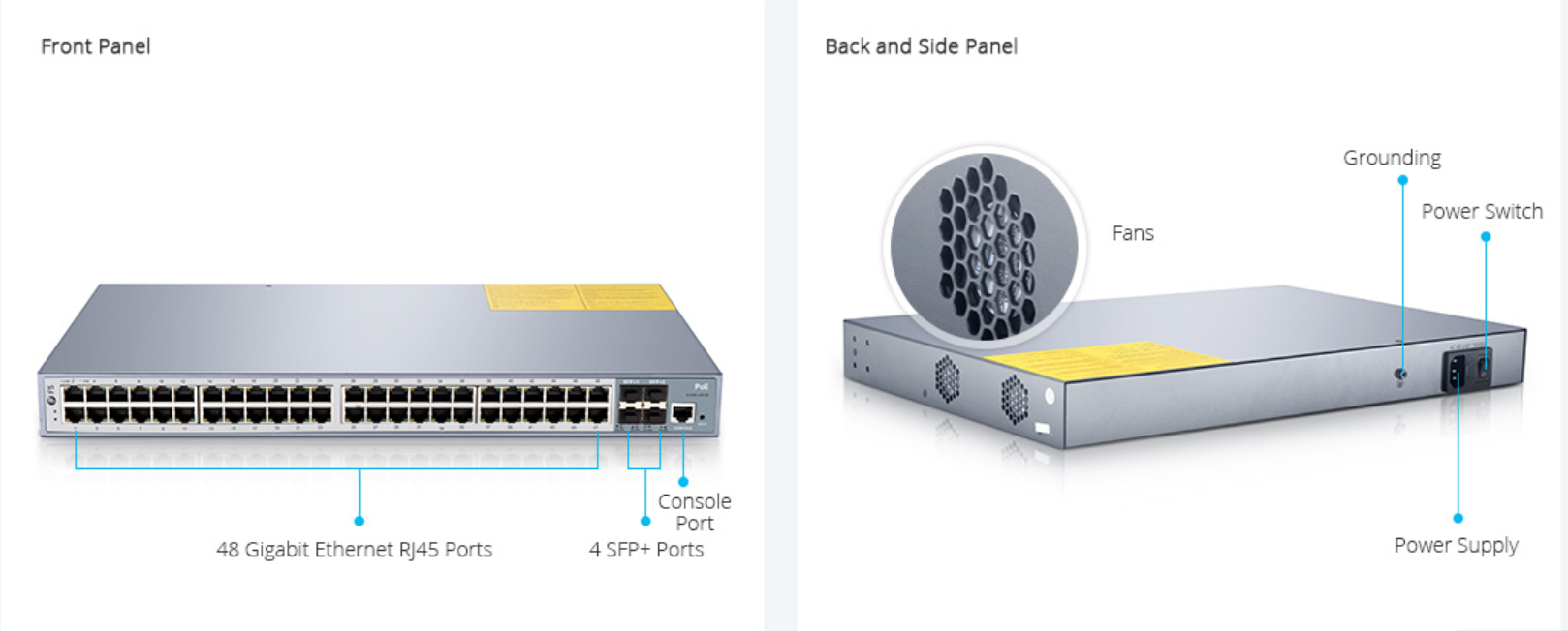 altFS PoE Switches 48-Port Gigabit PoE+ Managed Switch