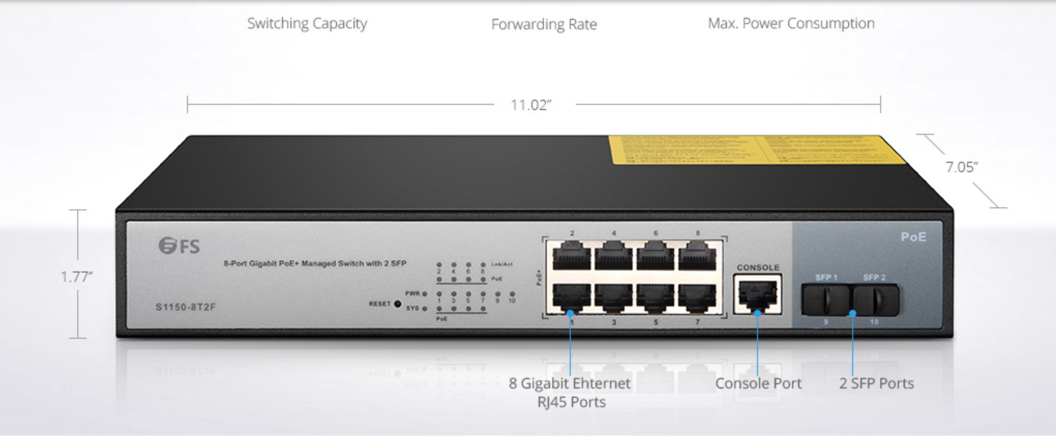 alt FS PoE Switches 8-Port Gigabit PoE+ Managed Switch